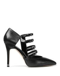 MICHAEL Michael Kors | Black Marta Snake Embossed Pumps | Lyst