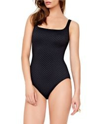 Gottex | Black One-piece Diamond In The Rough Squareneck Tank Swimsuit | Lyst