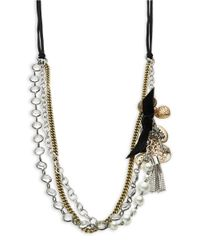 R.j. Graziano | Gray Faux Pearl-accented Tiered Chain Necklace | Lyst