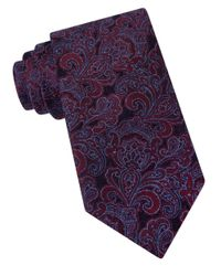 Michael Kors | Purple Florence Paisley Silk Blend Tie for Men | Lyst