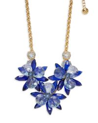 kate spade new york   Gold-tone Blue Crystal Flower Collar Necklace   Lyst