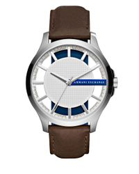 Armani Exchange | Brown Hampton Stainless Steel Leather Strap Watch | Lyst