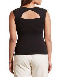 Lauren by Ralph Lauren - Black Plus Cutout-back Jersey Tee - Lyst