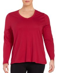 Lord & Taylor   Red Plus Cotton V-neck Tee   Lyst