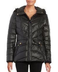 Jones New York   Black Faux Fur-trimmed Puffer Coat   Lyst