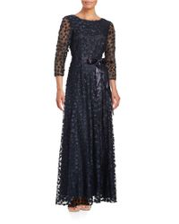 Tahari | Blue Floral-lace A-line Gown | Lyst
