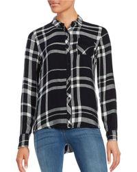 Calvin Klein | Black Plaid Button-front Blouse | Lyst