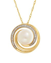 Lord & Taylor - Metallic 9mm Freshwater Pearl, Diamonds And 14k Yellow Gold Swirl Pendant Necklace - Lyst