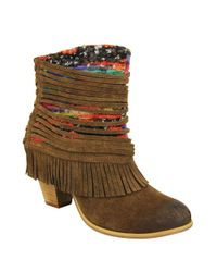 Naughty Monkey | Brown Talyhoe Fringe And Lace Suede Ankle Boots | Lyst