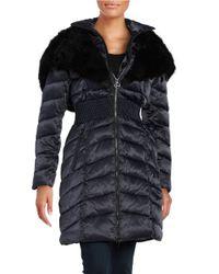 Laundry by Shelli Segal | Black Faux-fur-trim Hooded Down Puffer Coat | Lyst
