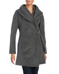 French Connection | Gray Wool-blend Wrap Coat | Lyst
