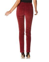 Rafaella - Red Petite Stretch Corduroy Ankle Pants - Lyst