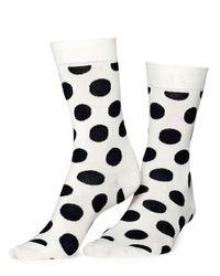 Happy Socks | Black Big Dot Crew Socks | Lyst