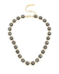 Kenneth Cole | Black Faceted Stone Collar Necklace | Lyst