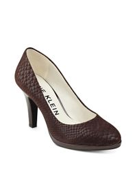 Anne Klein | Brown Lolana Snakeskin Patterned Leather Pumps | Lyst