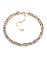 ABS By Allen Schwartz | Metallic Three Row Goldtone And Crystal Necklace | Lyst