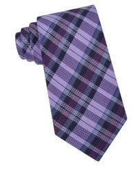 Calvin Klein | Purple Oxford Plaid Silk-blend Tie for Men | Lyst