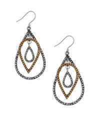 Lucky Brand | Metallic Pave Teardrop Earrings | Lyst