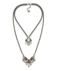 ABS By Allen Schwartz | Metallic Hematite-tone Layered Pendant Necklace | Lyst