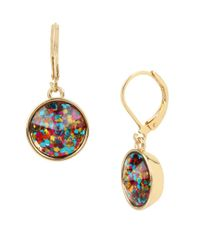 Betsey Johnson | Multicolor Confetti Goldtone Round Drop Earrings | Lyst