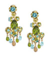 Oscar de la Renta | Blue Goldtone Faceted Crystal Chandelier Earrings | Lyst