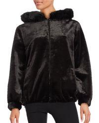 Gallery   Black Faux Fur Zip-front Short Coat   Lyst