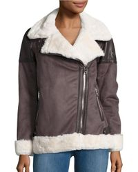Michael Kors | Brown Faux Fur Lined Moto Zip Coat | Lyst