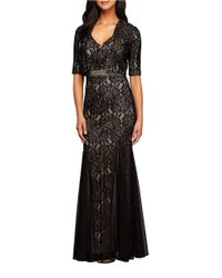 Alex Evenings | Black Fit And Flare Gown And Bolero Jacket Set | Lyst