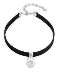 Lord & Taylor | Black Pave Heart Charm Choker Necklace | Lyst
