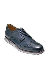 Cole Haan | Blue Original Grand Leather Wing Tip Oxfords for Men | Lyst