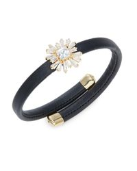 R.j. Graziano - Metallic Stone-accented Floral Faux Leather Bracelet - Lyst