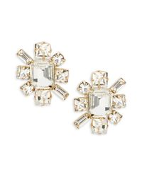 R.j. Graziano | Metallic Faceted Crystal Starburst Stud Earrings | Lyst