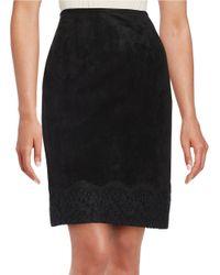 Calvin Klein | Black Sueded Pencil Skirt | Lyst