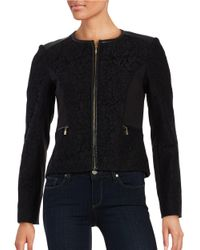 Calvin Klein | Black Lace-accented Zip-front Jacket | Lyst