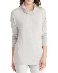 Lauren by Ralph Lauren | Gray Cowlneck Jersey Sweater | Lyst