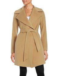 Diane von Furstenberg | Natural Wool Blend Mid Length Wrap Coat | Lyst