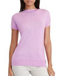 Lauren by Ralph Lauren | Purple Silk-blend Cap-sleeve Sweater | Lyst