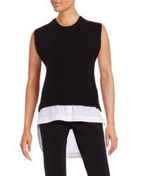 DKNY | Black Crewneck Sleeveless Mock Layer Sweater | Lyst