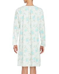 Miss Elaine - White Long Sleeve Floral Print Nightgown - Lyst