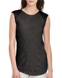 Lauren by Ralph Lauren | Black Beaded Cap-sleeve Top | Lyst