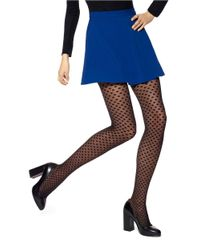 Hue | Black Dotted Mesh Tights | Lyst