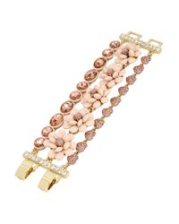 Betsey Johnson - Pink Flower Multi-row Toggle Bracelet - Lyst