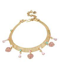 Betsey Johnson | Metallic Gold-tone Multi-charm Mesh Choker Necklace | Lyst