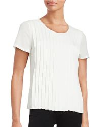 Calvin Klein | White Pleated Crepe Top | Lyst