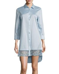 La Perla | Blue Embroidered Button-front Sleepshirt | Lyst