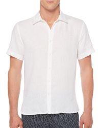 Perry Ellis | White Solid Linen Short Sleeve Shirt for Men | Lyst