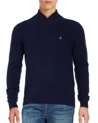 Original Penguin | Blue Wool Blend V Neck Sweater for Men | Lyst