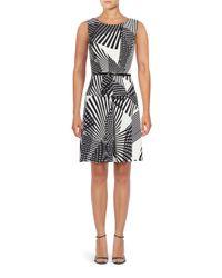 Adrianna Papell   Black Sleeveless Striped Print Dress   Lyst