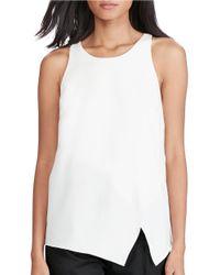 Polo Ralph Lauren | White Crepe Sleeveless Asymmetrical Front Top | Lyst