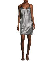 Lord & Taylor | Metallic Pleated Spaghetti Strap Shift Dress | Lyst